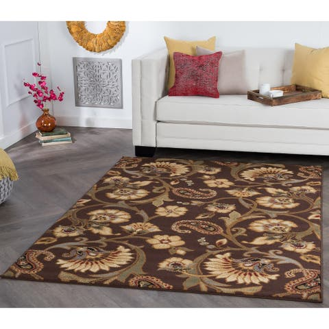 Alise Rugs Rhythm Transitional Floral Area Rug