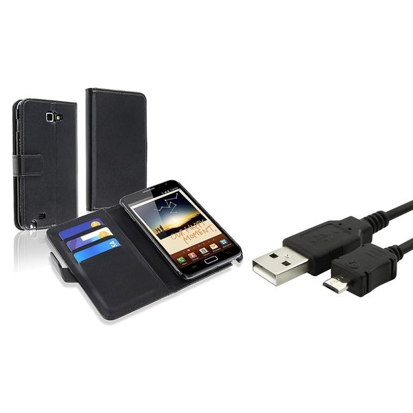 INSTEN Black Leather Wallet Phone Case Cover/ USB Cable for Samsung Galaxy Note N7000