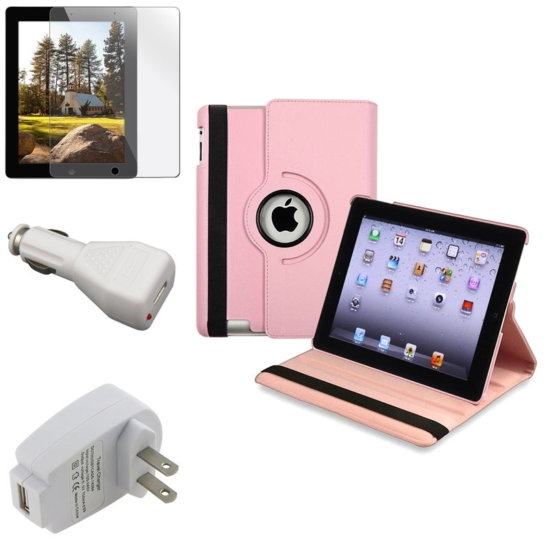 Pink Leather Case/ Screen Protector/ Chargers for Apple iPad 3
