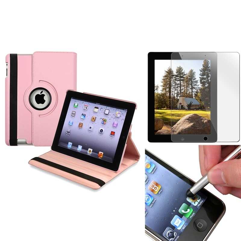 Pink Swivel Leather Case/Screen Protector/Stylus Accessory Set for Apple iPad 3