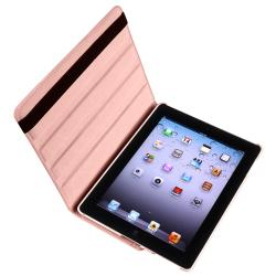 Pink Swivel Leather Case/Screen Protector/Stylus Accessory Set for Apple iPad 3 - Thumbnail 1