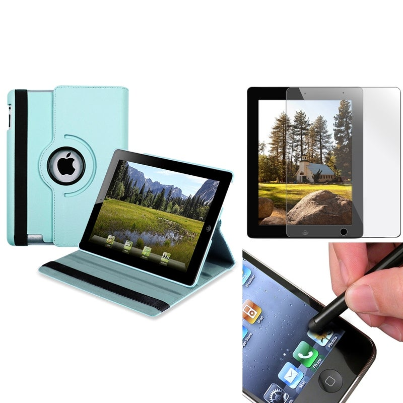 Blue Swivel Leather Case/Screen Protector/Stylus 3-Piece Set for Apple iPad 3