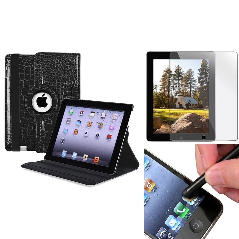 Black Swivel Leather Case/ Screen Protector/ Stylus for Apple iPad 3