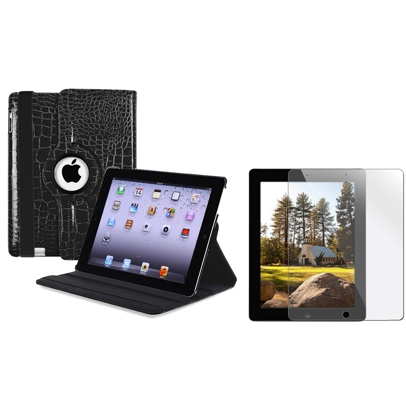 Black Swivel Leather Case/ Screen Protector for Apple iPad 3