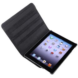 Black Swivel Leather Case/ Screen Protector for Apple iPad 3 - Thumbnail 1