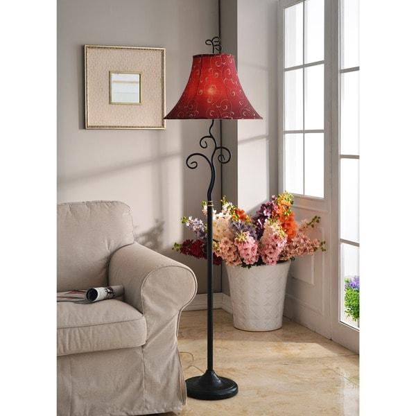 Design Craft Ramone Bronze-finished/Red Metal/Fabric 61-inch Floor Lamp