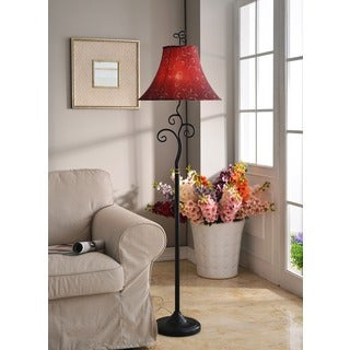 Design Craft Ramone Bronze-finished/Red Metal/Fabric 61-inch Floor Lamp