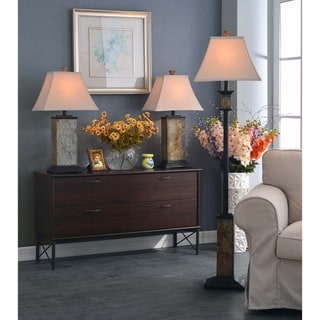 Design Craft Landon Slate Finish 3-piece Lamp Set