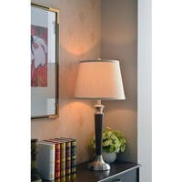 Graham 30-inch High With Tobacco Brushed Steel Finish Table Lamp