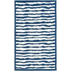 Safavieh Handmade Children's Stripes Ivory/ Blue Wool Rug (5' x 8')