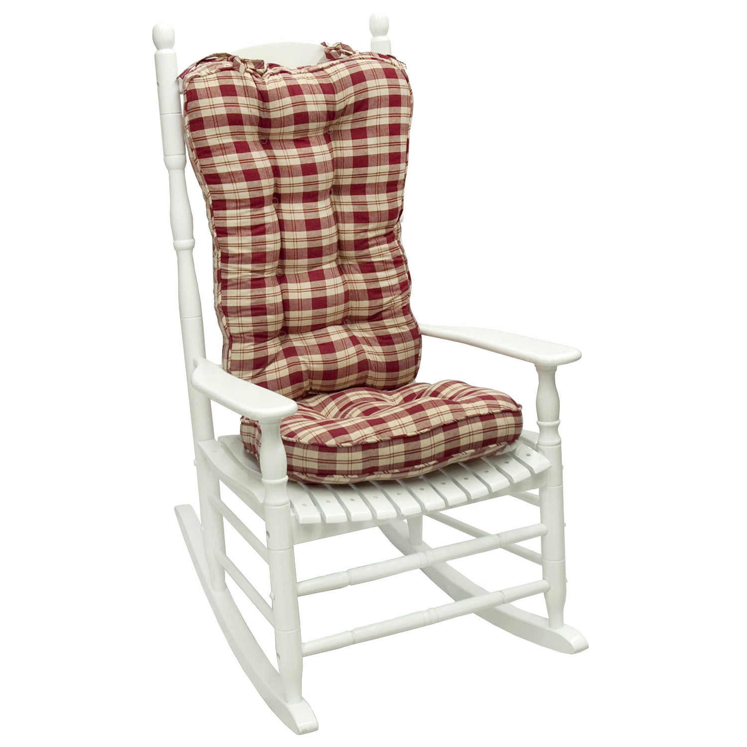 Ruby Plaid Jumbo Rocking Chair Cushion
