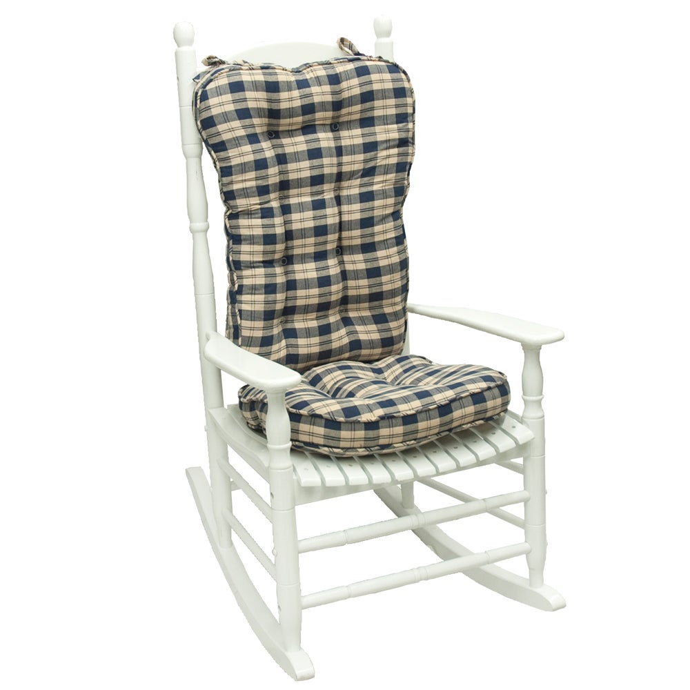 Navy Plaid Jumbo Rocking Chair Cushion