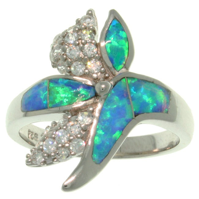 Carolina Glamour Collection Sterling Silver Created Blue Opal and Pave CZ Couture Ring