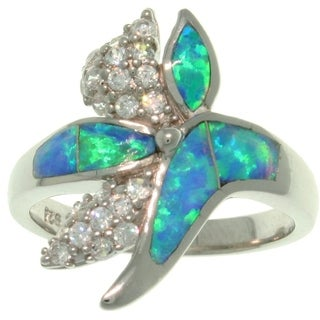 Sterling Silver Created Blue Opal and Pave CZ Couture Ring