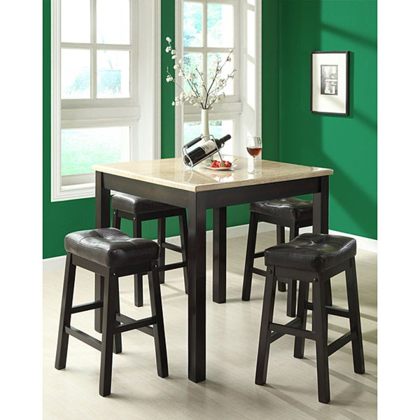 Whitley Cappuccino 5 Piece Dinette Set: Cappuccino/Beige Faux Marble 5 Piece Counter Dining Set