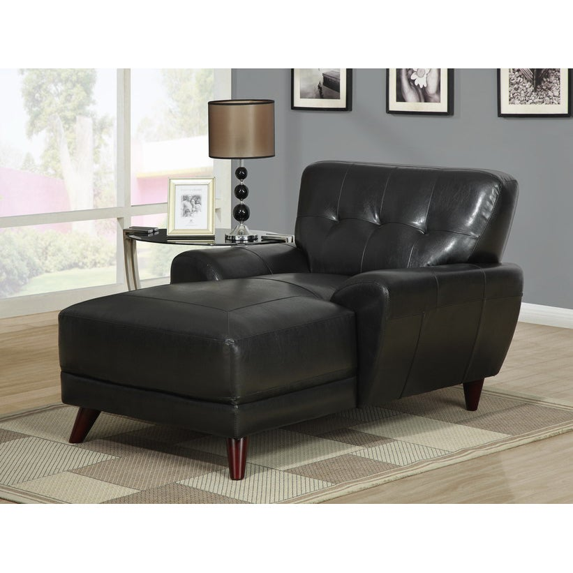 Black bonded leather match chaise lounger free shipping for Bonded leather chaise