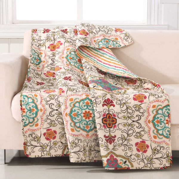 Greenland Home Fashions Esprit Art Deco Daisy-chain Print 100-percent Woven Cotton Quilted Throw