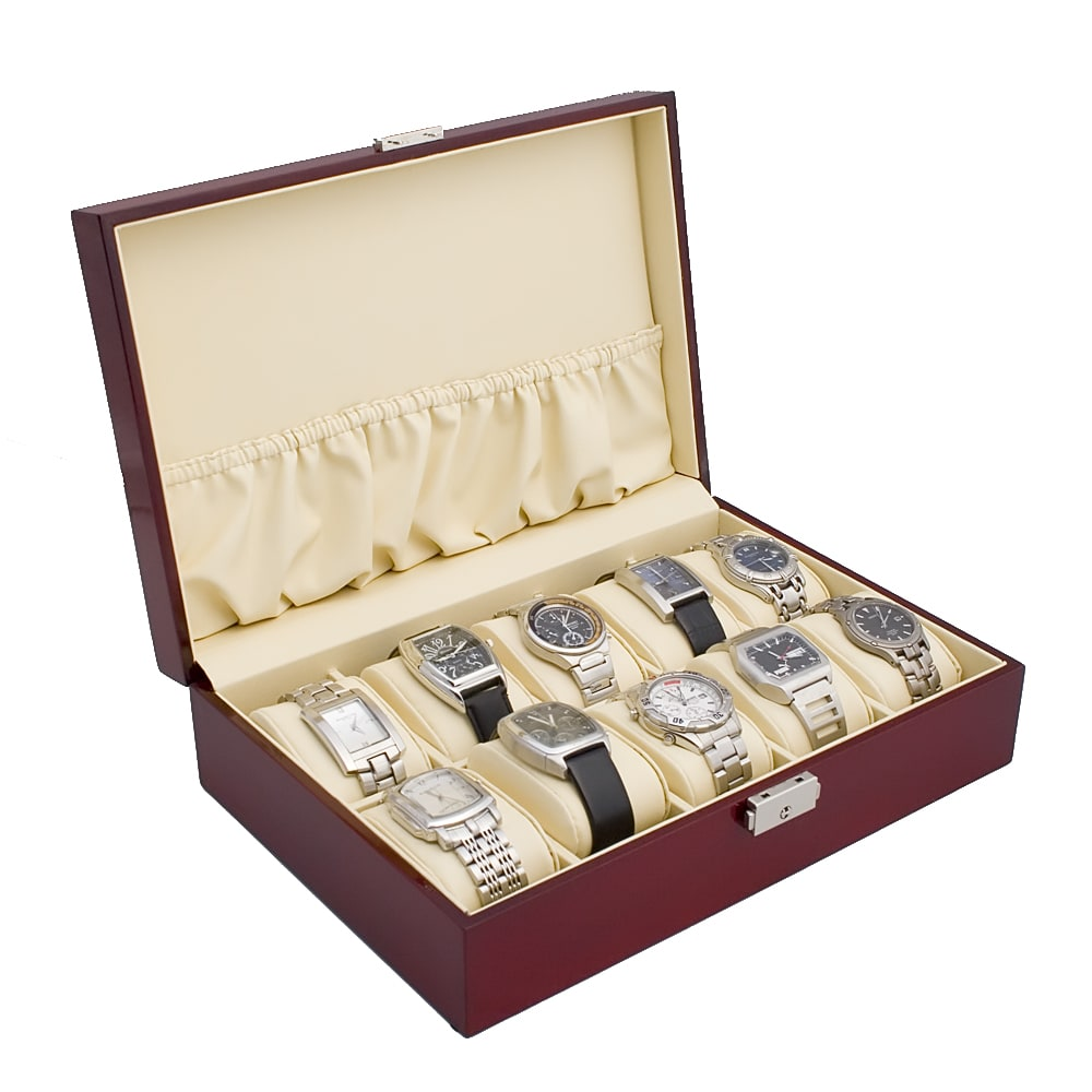 Glossy Single-level Rosewood Finish Ten-watch Wood Display Case