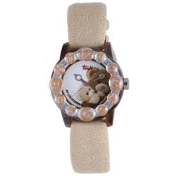 Trudi Kids' Beige Teddy Bear Suede Soft Strap Watch