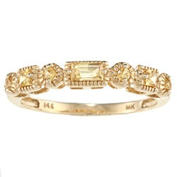 14k Yellow Gold 3/8ct TGW Yellow Sapphire Band