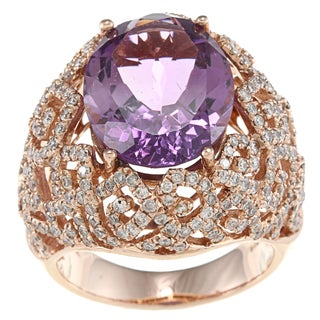 14k Rose-gold Amethyst and 1 5/8ct TDW White Diamond Ring (HI, I1)