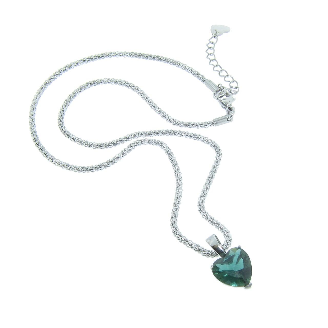 Eternally Haute Stainless Steel Created Emerald Heart Necklace