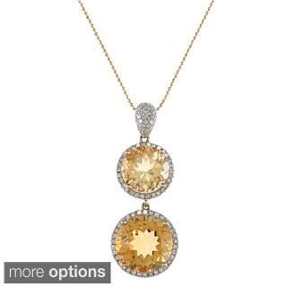 14k Yellow Gold Citrine 1/2ct TDW White Diamond Pendant (I, I1)