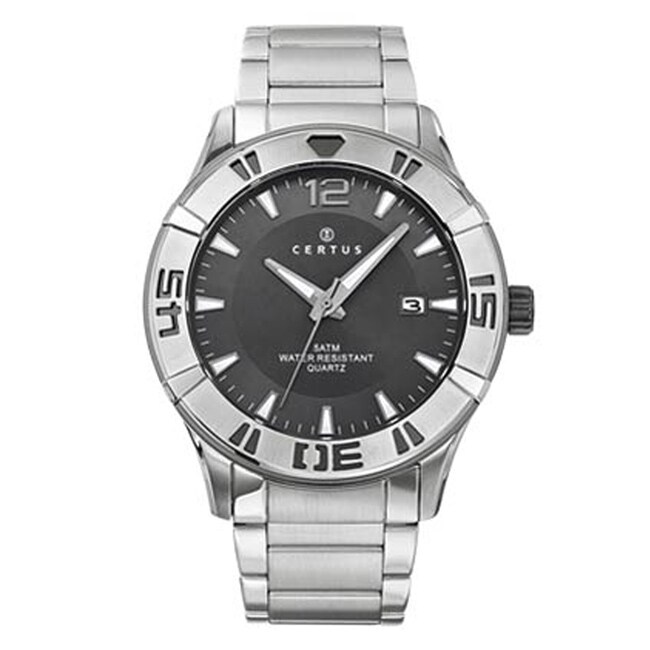 Certus Paris Men's Stainless Steel Grey Dial Date Quartz Watch