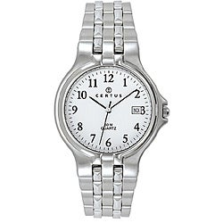 Certus Paris Men's Stainless-Steel White Dial Date Quartz Watch with Black Hands
