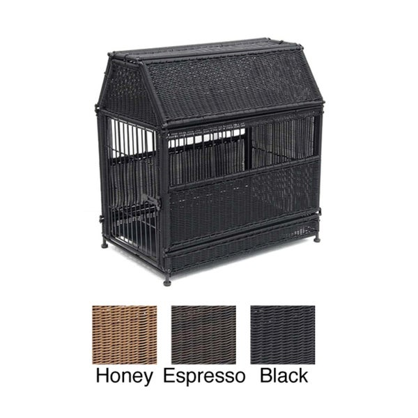 Large Wicker Dog House with Storage