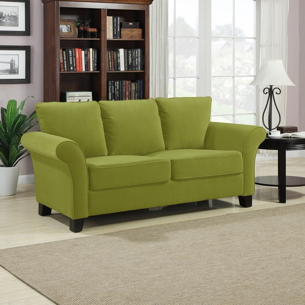 Shop Portfolio Provant Spring Green Velvet Sofa Free