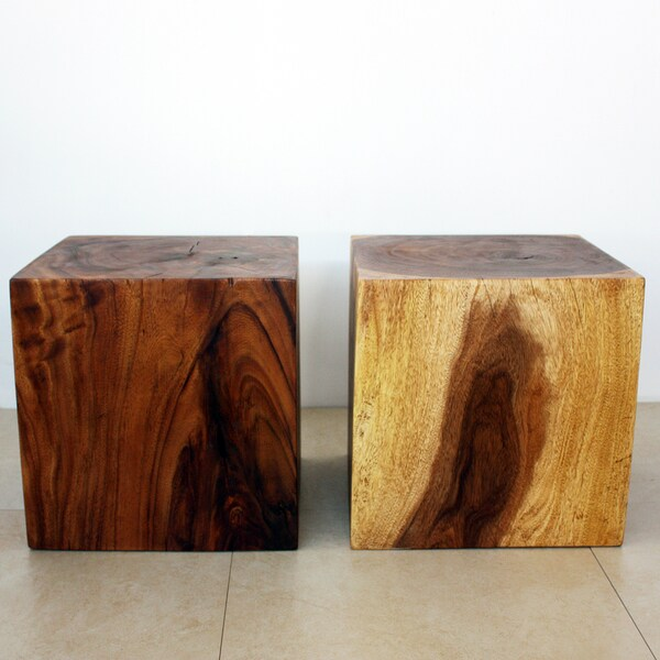 French Stamped Mango Coffee Table: [Handmade] Set Of 2 Monkey Pod Wood Cube Stools (Thailand
