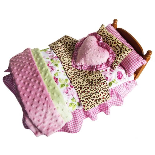 AnnLoren Shabby Floral & Zebra Bedding 7-piece Set for American Girl Doll