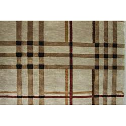 Hand-Knotted Tan New Zealand Wool Rug (6' x 9') - Thumbnail 1