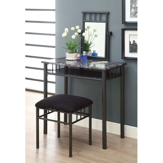 Grey Marble/ Charcoal Metal Two-piece Vanity Set </div>