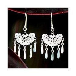 Sterling Silver 'Emperor's Fan' Filigree Earrings (Thailand)