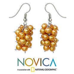 Handmade Stainless Steel 'Golden Grapes' Pearl Earrings (4-4.5 mm) (Thailand) - Thumbnail 1