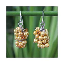 Stainless Steel 'Golden Grapes' Pearl Earrings (4-4.5 mm) (Thailand)