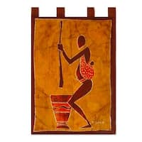 Cotton 'We Shall Eat' Batik Wall Hanging (Ghana)