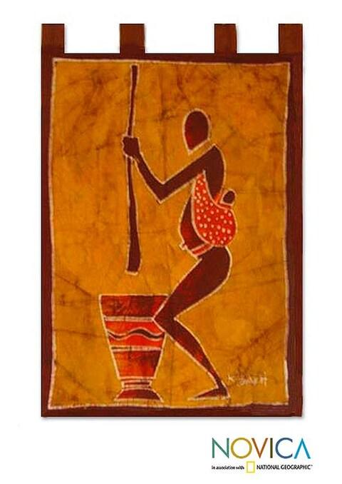 Cotton 'We Shall Eat' Batik Wall Hanging (Ghana)