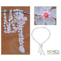 Handmade Stainless Steel 'Floral Rain' Rose Quartz Y Necklace (Thailand)