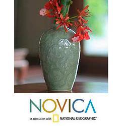 Handcrafted Celadon Ceramic 'Wildflower' Vase (Thailand)