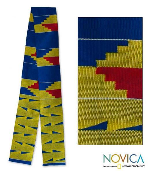 Cotton and Rayon 'Ashanti Stairway' Kente Cloth Scarf (Ghana)