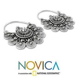Sterling Silver 'Glorious Dawn' Hoop Earrings (India)