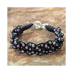 Silver 'Night Paths' Leather Pearl Bracelet (4.5-5 mm) (Thailand)