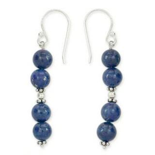 Handmade Sterling Silver 'Pillars of Love' Lapis Lazuli Earrings (India)