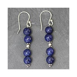 Handmade Sterling Silver 'Pillars of Love' Lapis Lazuli Earrings (India)