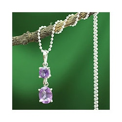 Sterling Silver 'Love Duet' Amethyst Necklace (India)