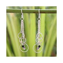 Silver 'Siam Chimes' Pearl Multi-gemstone Earrings (3.5 mm) (Thailand)