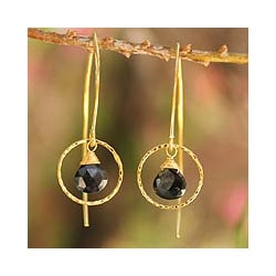 Gold Overlay 'Rose Dreamer' Spinel Dangle Earrings (Thailand)